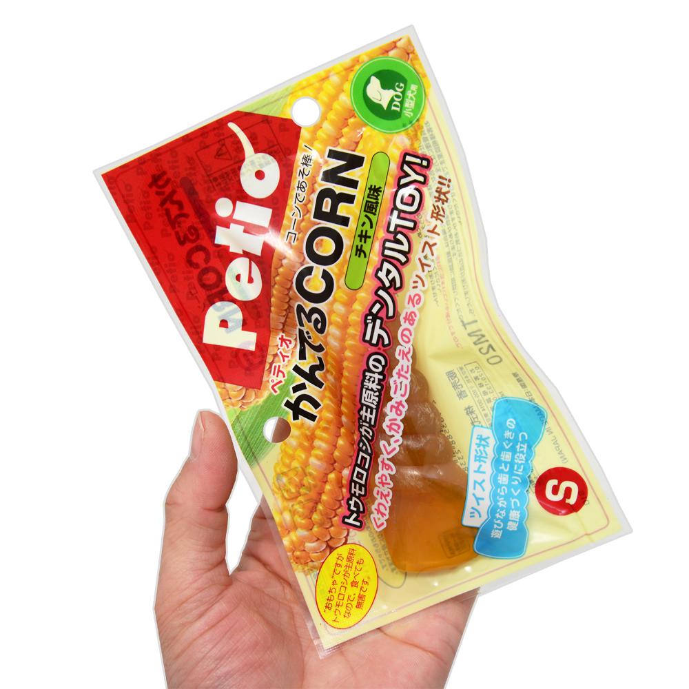 ペティオ かんでるCORN ツイスト チキン風味 S 小型犬用 関東当日便