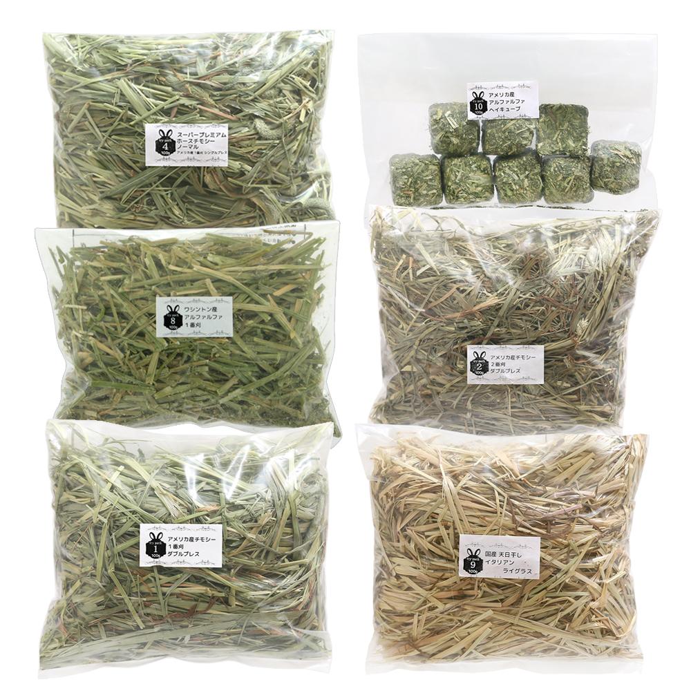 6種類の牧草お試しセットB 100g×6種類 価格交渉OK送料無料 チモシー3種 メーカー公式 オーツ 関東当日便 ヘイキューブ イタリアンライグラス