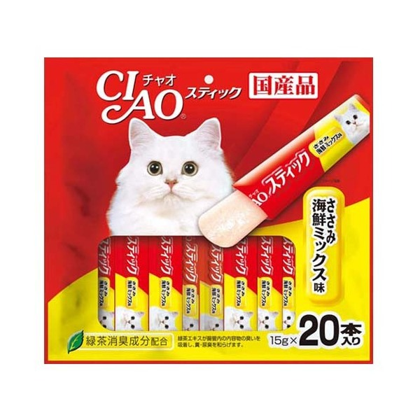 いなば CIAO(チャオ) スティックささみ 海鮮ミックス味 15g×20本 関東当日便
