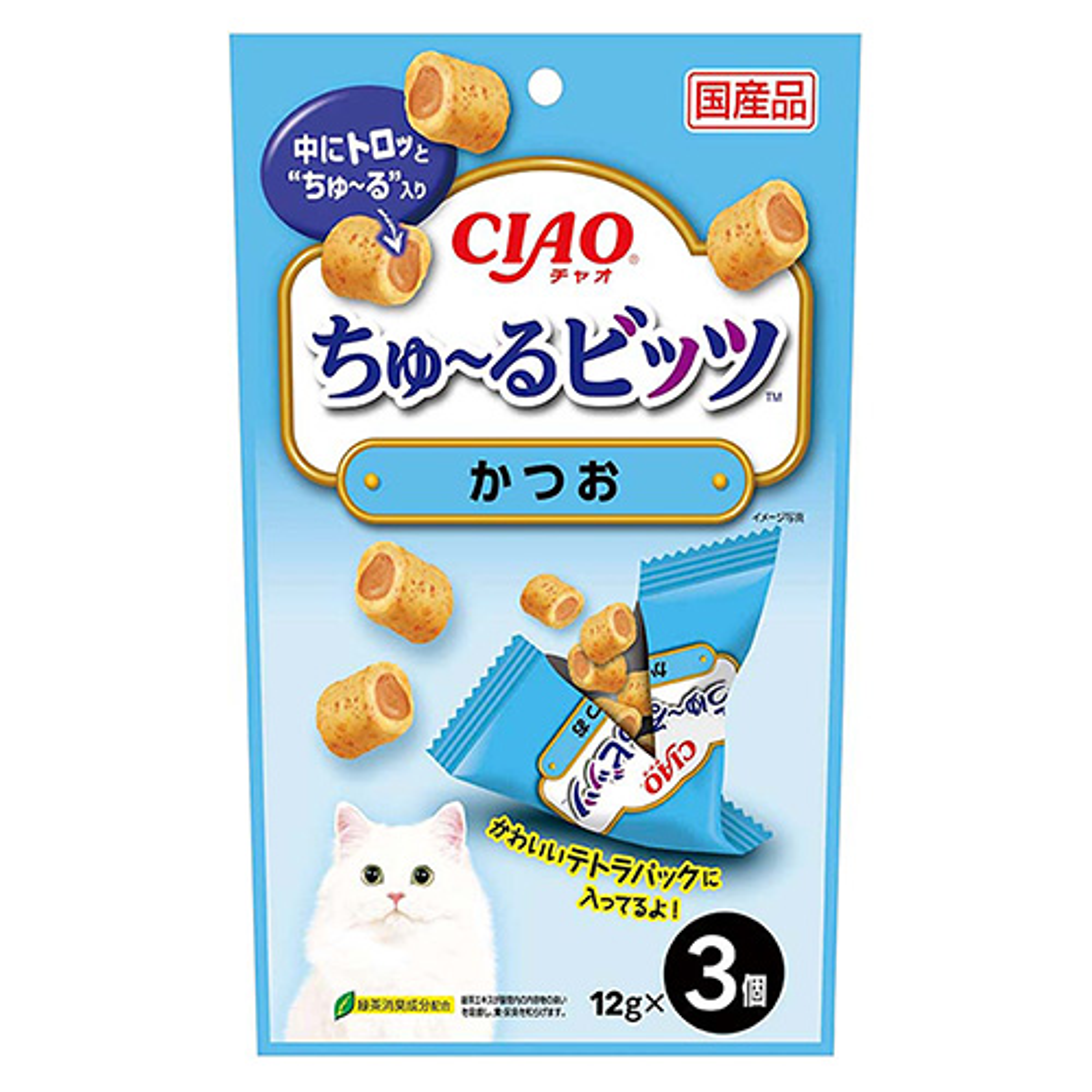 消費期限 2022 07 08 一部予約 いなば CIAO 12g×3袋 ちゅーる 関東当日便 通常便なら送料無料 かつお ちゅ~るビッツ チュール