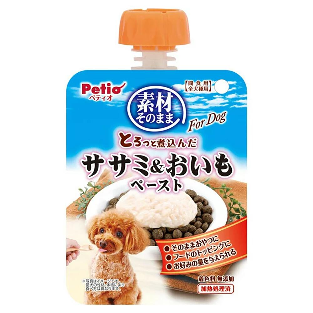 消費期限 販売 2022 05 31 ペティオ 素材そのまま とろっと煮込んだ ペースト For 購買 おいも 90g ササミ 関東当日便 Dog