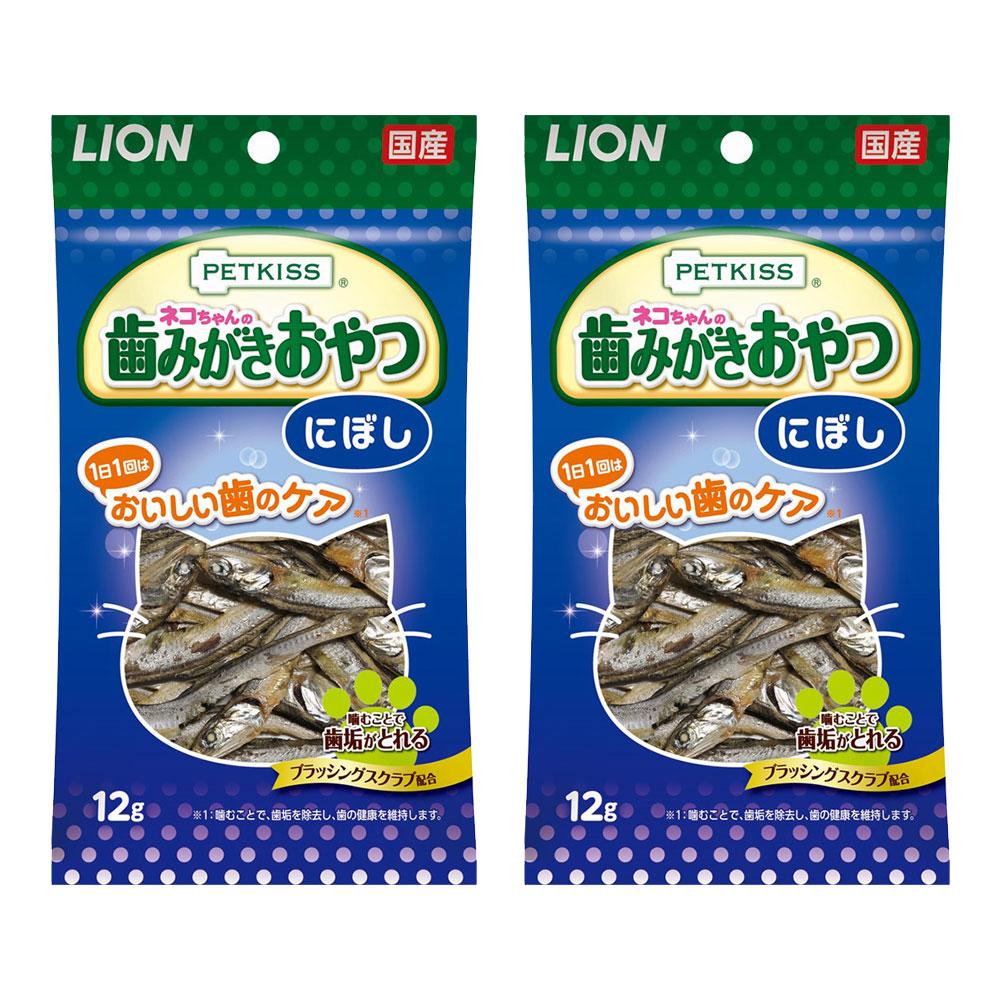 完全送料無料 消費期限 2022 07 商舗 08 ライオン にぼし ネコちゃんの歯みがきおやつ 12g×2袋 PETKISS 関東当日便
