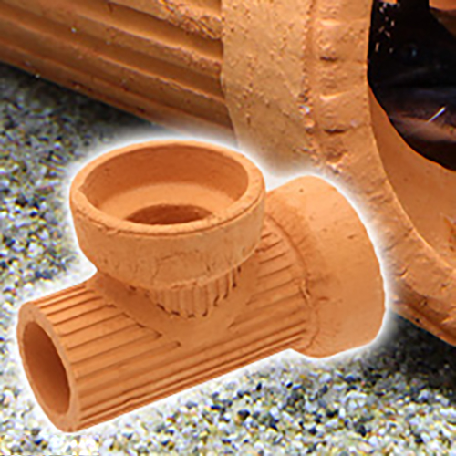 隠れ家土管 T字管 M 内径75mm 大型 アクアリウム用品 人気の定番 シェルター 商舗 関東当日便 水槽用オブジェ