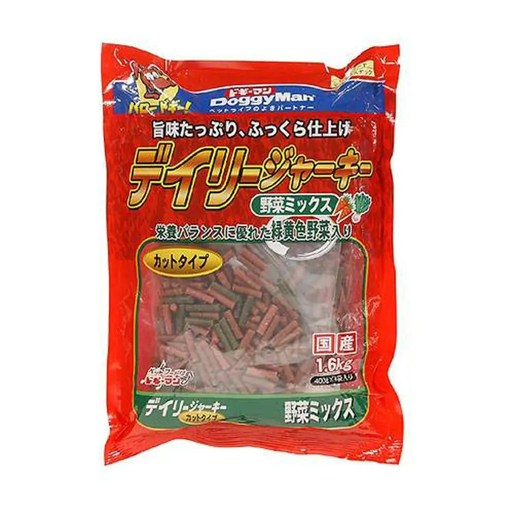 消費期限 2022 04 30 セール ドギーマン デイリージャーキー 保障 野菜ミックス 1.6Kg カットタイプ ジャーキー 犬 関東当日便 400g×4袋 おやつ