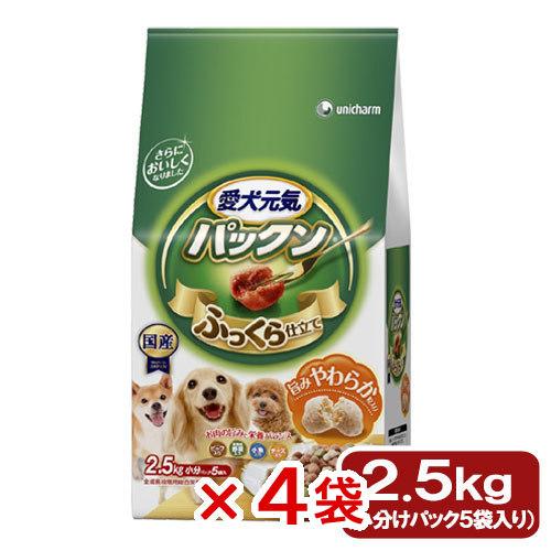 愛犬元気 パックン 全成長段階用 ビーフ・緑黄色野菜・小魚・チーズ入り 2.5kg(500g×5袋) 4袋入 お一人様1点限り 関東当日便