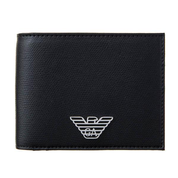 【並行輸入品】EMPORIO ARMANI エンポリオアルマーニ 60サイズ Y4R165 YLA0E 81072 メンズ 二つ折り財布 ブラック ワンポイント