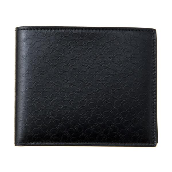 Salvatore Ferragamo サルヴァトーレフェラガモ 66A115 686504 レディース 二つ折り財布 ブラック 総柄