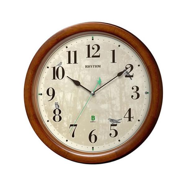 【正規品】RHYTHM リズム時計 クロック 8MN408SR06 CITIZEN シチズン 日本野鳥の会 四季の野鳥 報時掛時計408 電波時計 掛時計