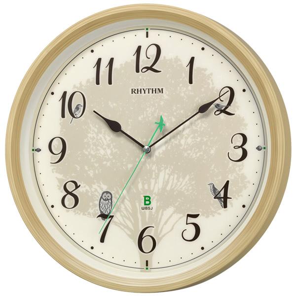 【正規品】RHYTHM リズム時計 クロック 100サイズ 8MN409SR06 CITIZEN シチズン 電波報時掛け時計 日本野鳥の会 四季の野鳥 報時掛時計409