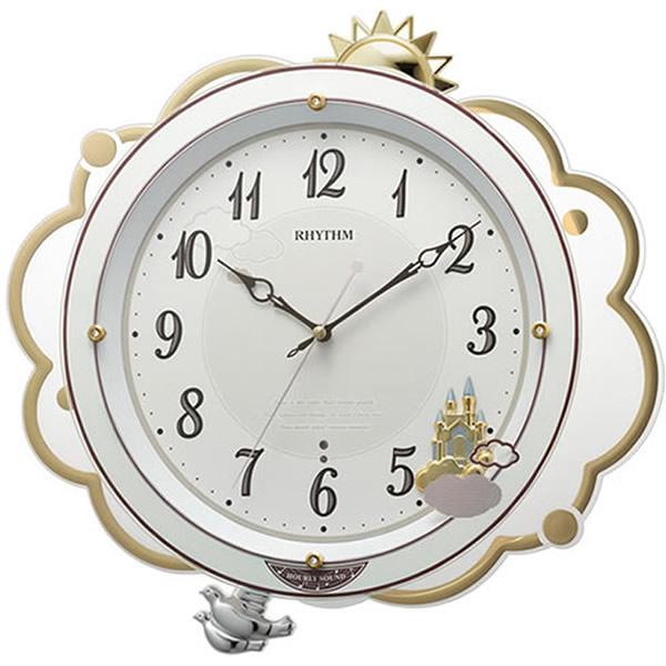 【正規品】RHYTHM リズム時計 クロック CITIZEN シチズン 8MN410SR03 電波掛時計 振り子時計 ファンタジースカイM410