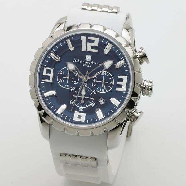 【正規品】SALVATORE MARRA サルバトーレ・マーラ 腕時計 SM15107-SSBL/WH メンズ クロノグラフ