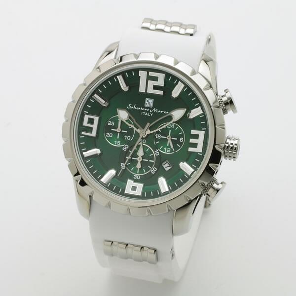 【正規品】SALVATORE MARRA サルバトーレ・マーラ 腕時計 SM15107-SSGR/WH メンズ クロノグラフ
