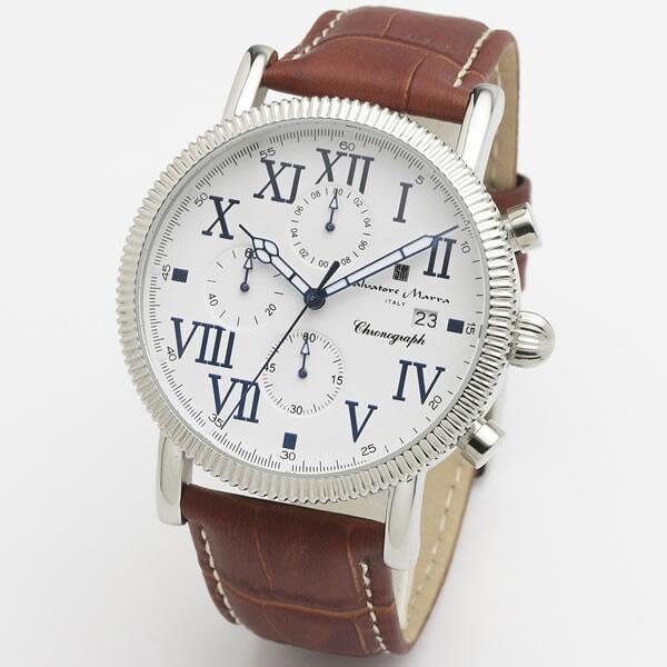 【正規品】SALVATORE MARRA サルバトーレ・マーラ 腕時計 SM19109-SSWH/BR メンズ クロノグラフ