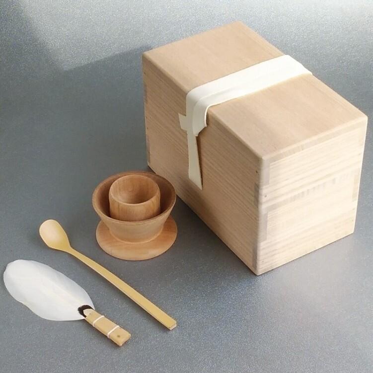 【茶道具】 茶掃箱セット (上:革紐) *茶上合*小羽箒*組小羽根*水屋茶杓*