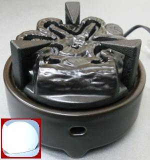 【茶道具セット】 ヤマキ 電気炭 「嬉楽」 風炉用500W 五徳つき+まえかわらけ 【YU-003 + YU-101】 前瓦つき*電熱*炭型*炭形ヒーター