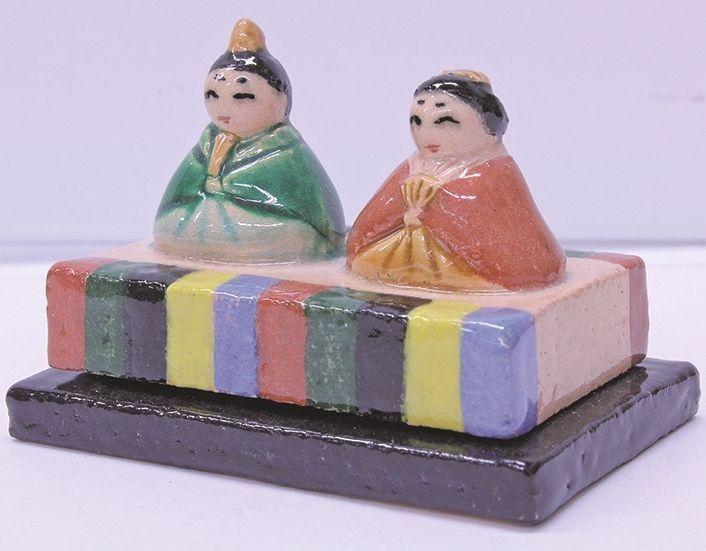 【茶道具】 香合 吉向焼 ひなまつり  *9世 吉向松月*  楽焼・雛祭り