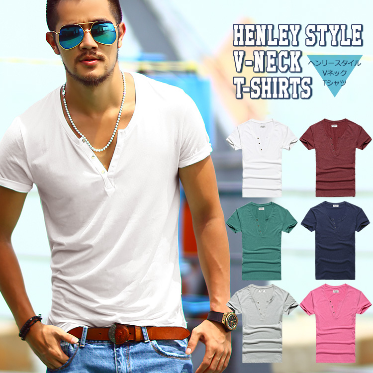 703f3d2e American casual men short sleeves wine _ red red _ white white plain fabric  _ blue ...