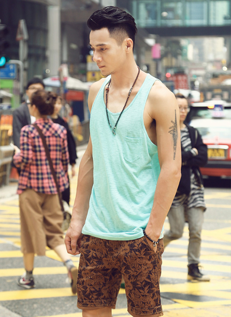 b559d0663b28 Tank top men sports plain fabric slab T-cloth cool summer clothes inner  tank American casual West Coast LA celebrity style resorts safari rough  feeling ...