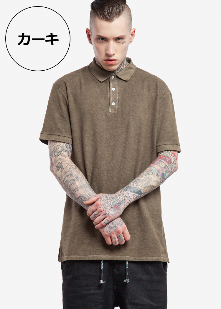 Chao R Polo Shirt Fawn Vintage Shirt Men Plain Fabric Short Sleeves