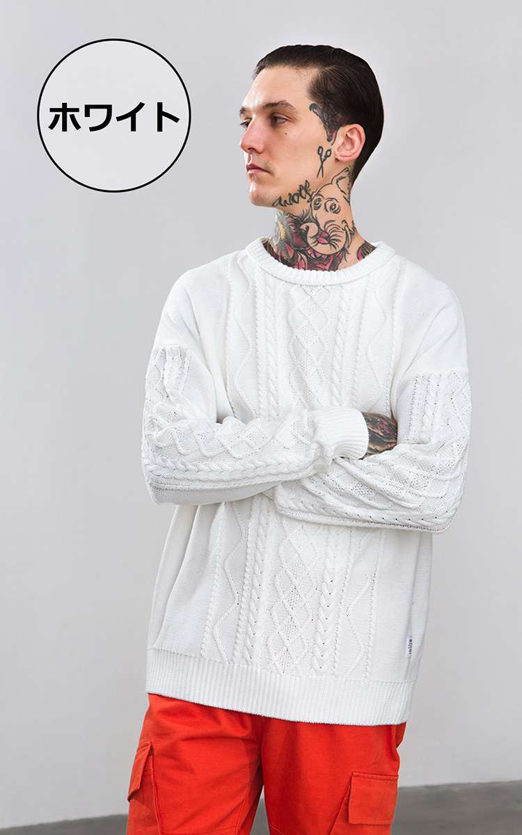Chao R Knit Sweater Men Fisherman Knit Cable Knit Cable Knitting
