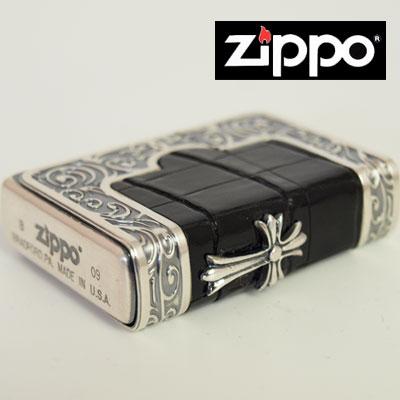 ZIPPO ライター 【売れ筋 】【 送料無料 】希少 フレームクロコダイル メタルジッポ 三面加工メタル貼り クロス