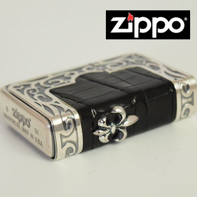 ZIPPO/ジッポ/ライター 【売れ筋】 【送料無料】 希少 フレームクロコダイル メタルジッポ 三面加工 メタル貼り ユリ百合紋章