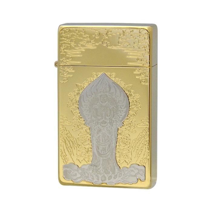 SAROME サロメ ジェットフレームライター≪SRM Miniature Plate Etch & Metal Emblem Silver 10μ Plate M.P 聖観世音菩薩(B)ゴールドプレート≫ガスライター【送料無料】