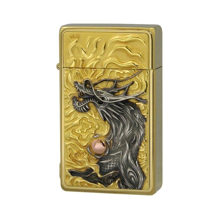 SAROME サロメ ジェットフレームライター≪SRM EXCEL Gold Engrave Metal Enblem Titanium Coating[mellow] SRM ライター スパイラルサーキュラーフレイム 龍王 純銀プレート ゴールド チタンコーティング シリアルナンバー入り≫ガスライター【送料無料】