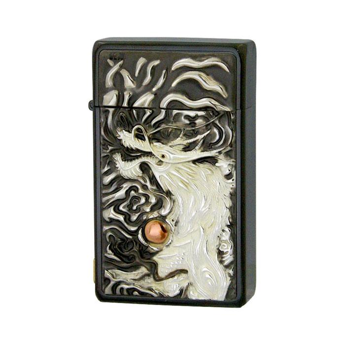 SAROME サロメ ジェットフレームライター≪SRM EXCEL Black Engrave Metal Enblem Titanium Coating[deep] 龍王 純銀プレート ブラック チタンコーティング シリアルナンバー入り≫ガスライター【送料無料】