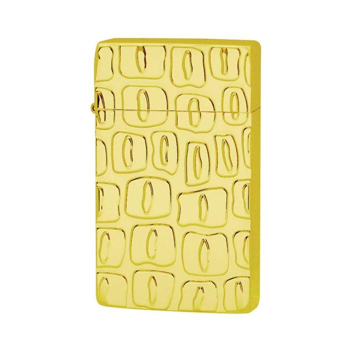 SAROME サロメ ジェットフレームライター≪SRM EXCEL Crocodile Gold Engrave Titanium Coating[mellow] SRM ライター スパイラルサーキュラーフレイム クロコダイルパターン ゴールド チタンコーティング≫ガスライター【送料無料】