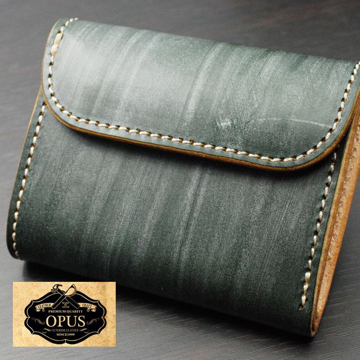 OPUS(オーパス) UKブライドルレザー・ミニウォレット OCW-E-GR グリーン 日本製 【送料無料】 レザーウォレット ハンドメイド 財布 05P05Nov16