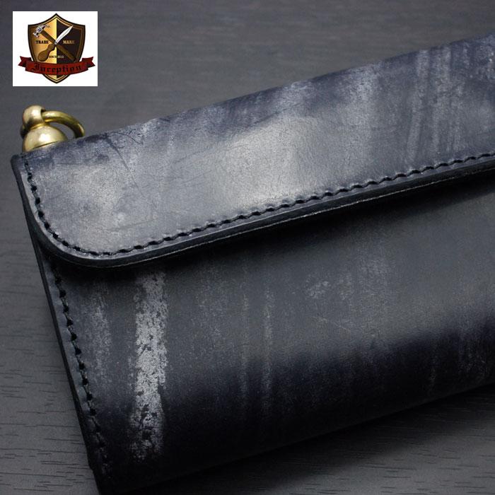 INCEPTION(インセプション) UKブライドルレザー・ミドルウォレット 真鍮製回転トチカン付 IPW-06-NV ネイビー 日本製 【送料無料】 レザーウォレット ハンドメイド 財布 OPUS(オーパス)