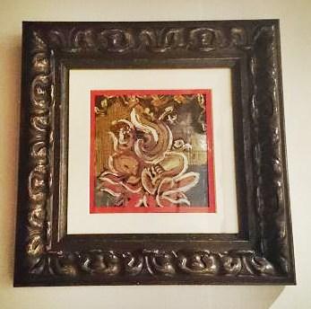 〇【スピリチュアルアート 額入り】縦35.5×横35.5×厚さ4.5cm 赤枠/流れるようなタッチ/自然な流れに身を任せるエネルギーです インド ガネーシャ スピリチュアル 絵画 アート ペイント アジアン