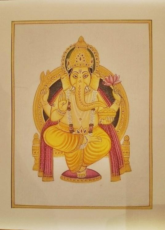 送料無料!!◆【高級シルク地 枠入り絵画 ガネーシャ】インド ガネーシャ シルク地 絵画 アート 一点ものですのでお好きなガネーシャをお選びいただけます