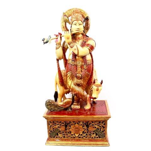 ●【木製神像 クリシュナ】インド クリシュナ 瞑想 スピリチュアル