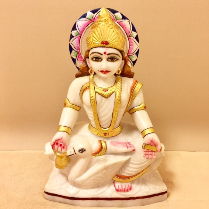 〇【大理石神像 ガーヤトリー】インド ガーヤトリー 女神 瞑想 スピリチュアル 神像 高級インド雑貨カオス