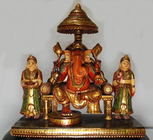木彫り ガネーシャとシッディ・ブッディ置物【28cm】インド 神像 木製