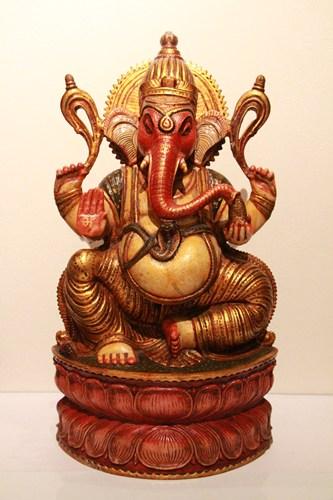 ●【シッティング ガネーシャ】インド 神像 夢を叶える 木製 神像 高級 オリジナル ハンドクラフト