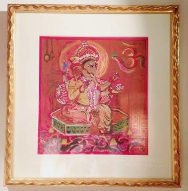 〇【スピリチュアルアート】額入り  赤枠/知性にあふれる学問の神/威厳ある堂々としたエネルギーを求めている方に インド ガネーシャ スピリチュアル 絵画 アート ペイント アジアン