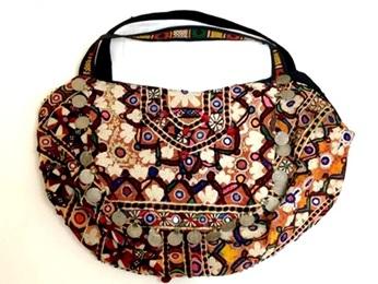 ◇【コットンバッグ ~アースカラー~】インド コットン かばん 旅行かばん ミラー 刺繍 豪華 アジアン コイン アース カラー