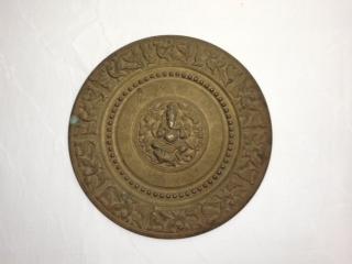 ●【真鍮製ガネーシャ壁掛】インド ガネーシャ アンティーク 骨董 置物 魔よけ 成功 幸福 プレート ギフト プレゼント