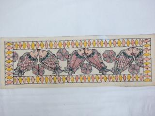 送料無料◆【ミティラー画(手すき紙)小】インド雑貨 アジアン雑貨 伝統画法 ミティラー画 魚 手すき紙 ピカソ