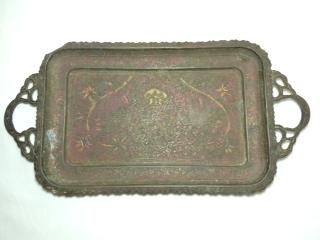 ●【真鍮製 お盆】アンティーク インド 骨董