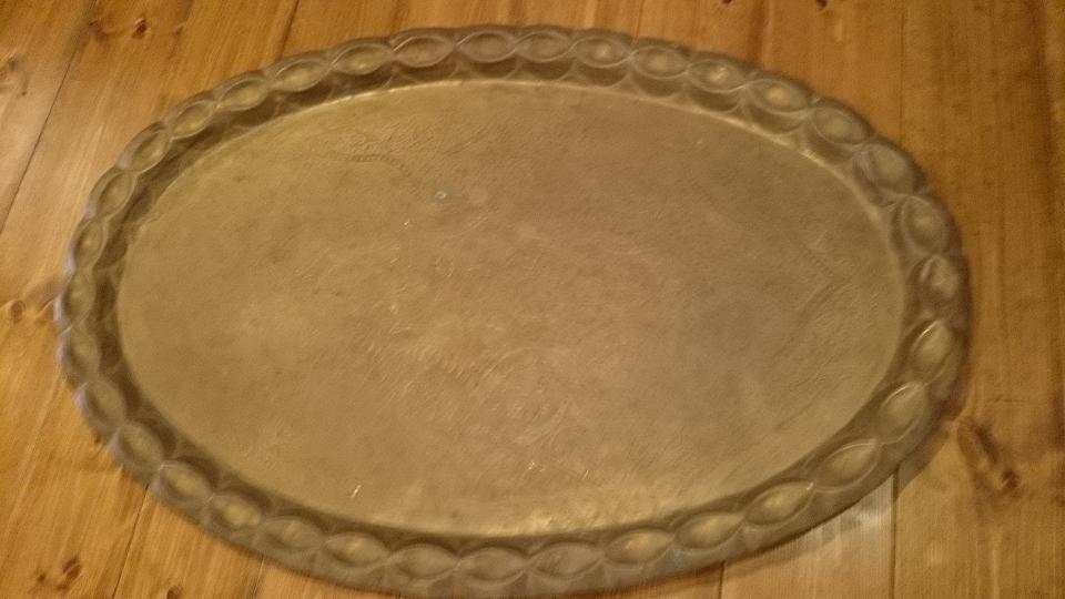 ●【真鍮製 お盆 楕円形】アンティーク インド 骨董