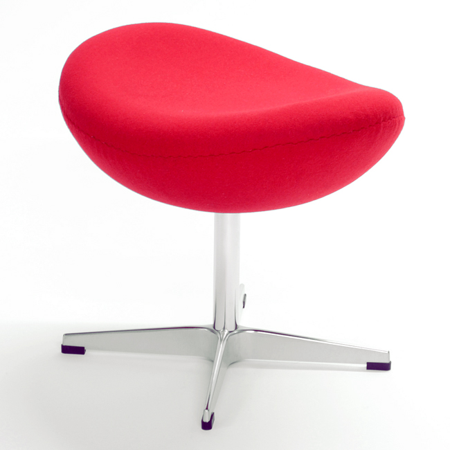 Jacobsen Egg Chair Ottoman Stool Red