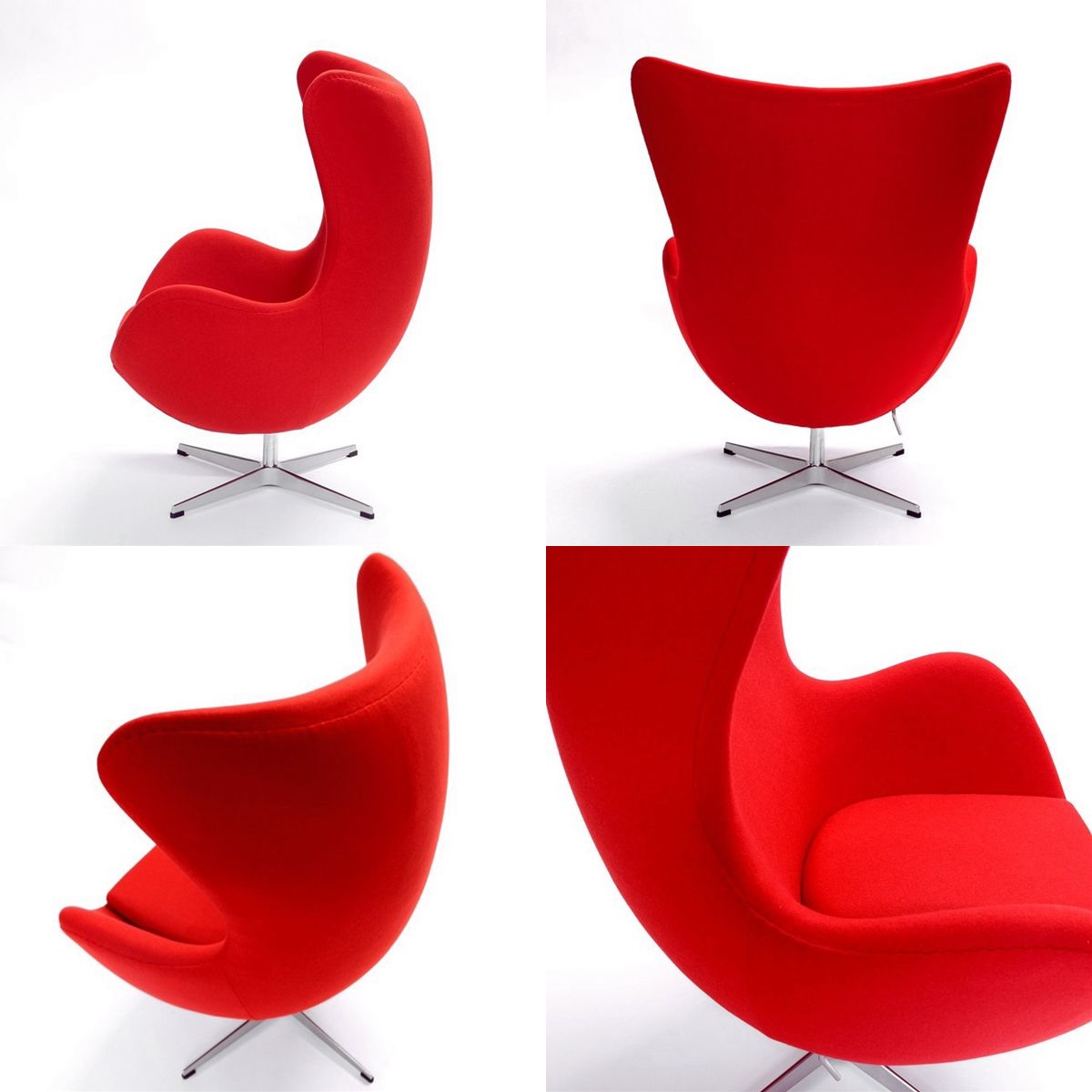 Jacobsen Egg Chair Red Cashmere Blend Fabric