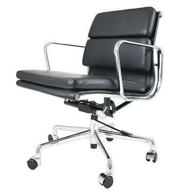 Eames Office Chair Aluminum Short Back Soft Pad Black