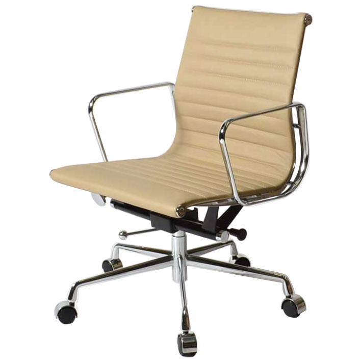 Eames Office Chair Aluminum Short Back Flat Pad Beige Leather Leather