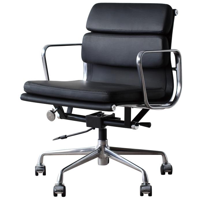 イームズ アルミナムチェア オフィスチェア ミドルバック ソフトパッド ブラック PVC アルミナムグループ eames おしゃれ かっこいい デザイナー ミッドセンチュリー チェア 椅子 リプロダクト ジェネリック