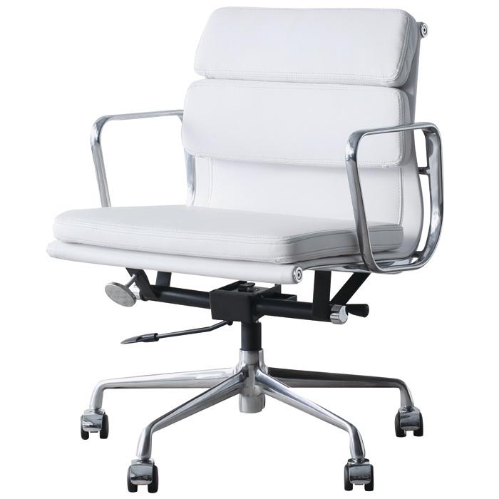 イームズ アルミナムチェア オフィスチェア ミドルバック ソフトパッド ホワイト PVC アルミナムグループ eames おしゃれ かっこいい デザイナー ミッドセンチュリー チェア 椅子 リプロダクト ジェネリック